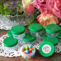 20 JARS Reusable 1 ounce Container Plastic Bottle Screw Green Cap 5303 DecoJars