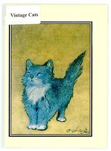 Nostalgic vintage Cat greeting card. 1904 image by Oliver Herford. blank inside.
