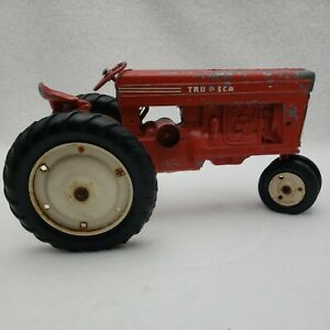 Vintage Tru Scale Red Farm Tractor Metal Toy For Parts or Restoration