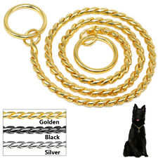 Dog Snake Chain Collar Necklace P Choker Training Gold Silver Black 14 16 20 24""