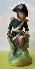 Antique Bisque Figural Napoleon Dog Fairing Spill Match Holder Figurine Rare