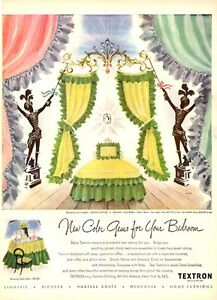 1947 Textron PRINT AD Fashion Green & Yellow Bed Great colorful  IAN  ARTWORK