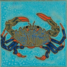 Ceramic tile, Blue Crab, hot plate, wall decor, install, mosaic, backsplash
