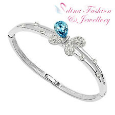 18K White Gold Plated Made With Swarovski Crystal Ocean Blue Butterfly Bangle
