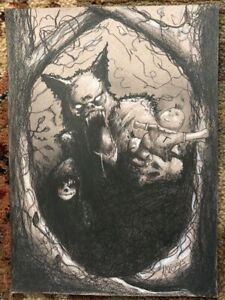 LITTLE DEAD RIDING HOOD ORIGINAL GEORGE SILLIMAN DRAWING LOWBROW HORROR WEREWOLF