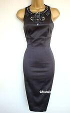 KAREN MILLEN bijou perles dos ouvert robe noir KM Taille UK 8 EU 34