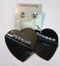 New Black  Hearts w/ Silver Tone Spikes 2 Pair Pierced Earrings Set
