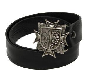 Tobacco Road Black Italian Leather Belt Shield Crest Buckle Rocker Style Belt