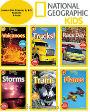 NATIONAL GEOGRAPHIC READER Level Pre,1 & 2 Race,Planes,Trucks,Storms,Volcanos