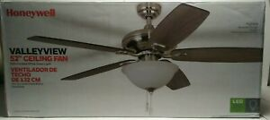 """Honeywell Valleyview 52"""" Brush Nickel 5-Blade w/Frosted White Glass Ceiling Fan"""