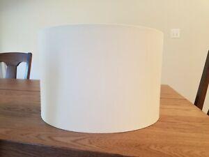 Cream Drum Lamp Shade Modern Hardback w/ Gold Fabric lining 14x14x9 Spider