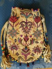 New ListingVintage Native American Sioux Indian Bead Decorated Hide Bag Beaded Pouch