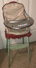 Vintage Metal Doll High Chair 1950s Green Red Floral 29inx9x9