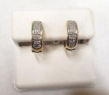 10K Yellow Gold Real Diamond Hoop Earrings. .33ctw