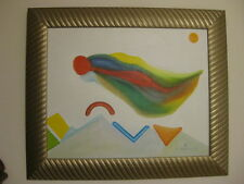 Abstract oil painting signed Erasto Medrano colorful surreal