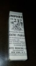 Antique Humphreys Homeopathic Medicine NOS #21 Asthmatic Paroxysms