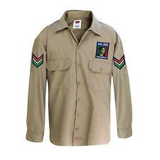 Irie Jah Love Selassie Roots Africa Reggae Jamaica Khaki Patch Camicia Rasta