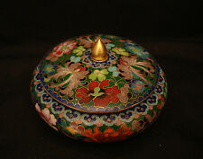 """5"""" D VINTAGE CHINESE CLOISONNE THOUSAND FLOWER COVER BOWL"""