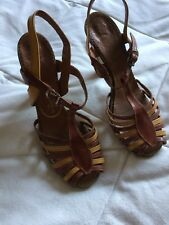 Vintage Leather Shoes Yellow & Tan Heeled Slingback Sandals Genuine Vintage