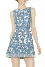 Alice + Olivia  Lindsey Embroidered Cotton Chambray Dress Size 6 NWOT