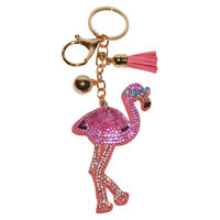 Pink Flamingo Keychain for Women Backpack Clip on Bling Purse Charm Bag Pendant