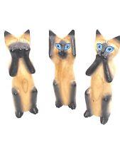 Vintage Wooden Handmade See No Evil, Hear No Evil, Speak No Evil Siamese Cats