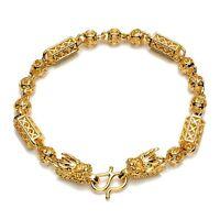 "Men/Women dragon Bracelet Charms Chain 18K Yellow Gold Filled 8"" Link Jewelry"