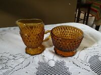 Vintage 2 Pc Indiana Glass Diamond Point Amber Cream and Sugar Set