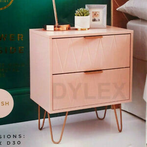 NEW Bedside Tables With 2 Drawer Gold Legs Side Table Bedroom Furniture Blush