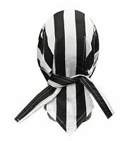 Prisoner Convict Black White Stripe head wrap Skull Cap Durag Sweatband Capsmith