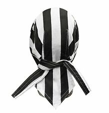Prisoner Convict Black White Stripe Headwrap Skull Cap Durag Sweatband Capsmith