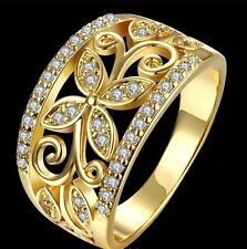 Cubic Zirconia Band Yellow Gold Filled Fashion Rings