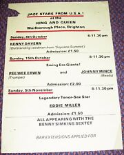 KENNY DAVERN PEE WEE ERWIN JAZZ CONCERTS POSTER OCT & NOV 1978 BRIGHTON U.K.