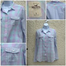 ladies hollister summer check shirt blouse size s multi coloured 100% cotton