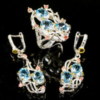 Jewelry SET Natural Blue Topaz 925 Sterling Silver SET  Ring Size 7.75/R114200