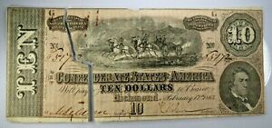 1864 $10 Confederate States Currency Civil War Note Richmond Authentic G348