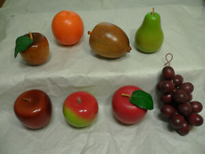 Vintage Hand Carved Wooden Mixed Fruit Lot of 8 Pieces Grapes Lemon Apples Pear