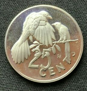 1973 British Virgin Islands 25 cents Proof  Copper nickel ( Mintage 181K ) #C340