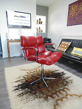 RED BARBERS SWIVEL CHAIR CHROME LEATHERETTE 80s *FREE DELIVERY RETRO OFFICE BOSS