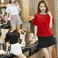 Women Chiffon Blouse Sexy Lace Up Round Neck Ruffle 3/4 Sleeve Tops Shirt S&K