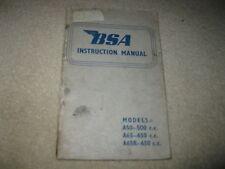 New listing Bsa Motorcycle Instruction Manual A50 65 65R 500cc 650cc