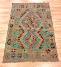 REAL Afghan Handmade Geometric Tribal MULTI COLOUR Wool Kilim Rug 82x117cm