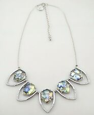 White House Black Market White Crystal Color Stone Silver Statement Necklace