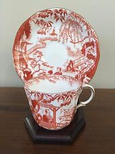 Royal Crown Derby RED MIKADO Flat Cup & Saucer Set