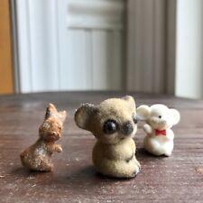 Vintage Flocked Miniature Animals Mouse Koala Rabbit Josef Original Mini Toys