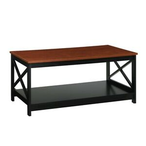 Convenience Concepts Oxford Coffee Table, Cherry/Black - 203082CH