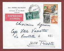 affrancatura GEMELLI Siracusana Michelangiolesca Lire 5 Espresso Torino Trieste