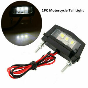 Motorcycle 3 LED White Tail Light Turn Signal License Number Plate Rear Lamp 12V