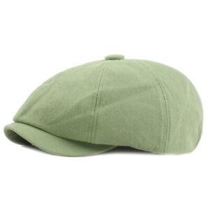 Men Solid Stripe Cotton Beret Newsboy Hat Golf Driving Cabbie Ivy Hats Flat Cap