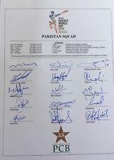 Pakistan 2015 World Cup Cricket SIGNED team sheet Yasir, Younis Khan, Misbah etc